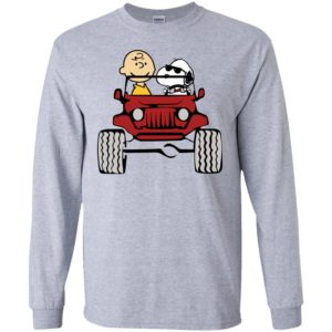 Charlie and snoopy drive jeep funny jeep fan gift long sleeve